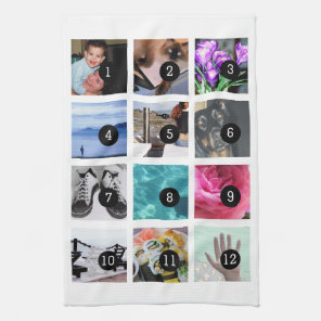 Create Your Photo Style 12 images Tea Towel