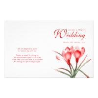 Crocus orange red floral wedding programme 5.5