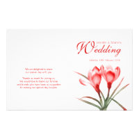 Crocus orange red floral wedding programme 5.5