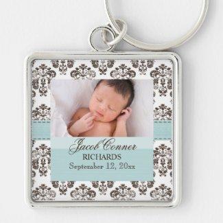 Custom Baby Damask Photo Keychain Blue and Brown Keyring