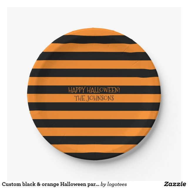 Custom black & orange Halloween party paper plates