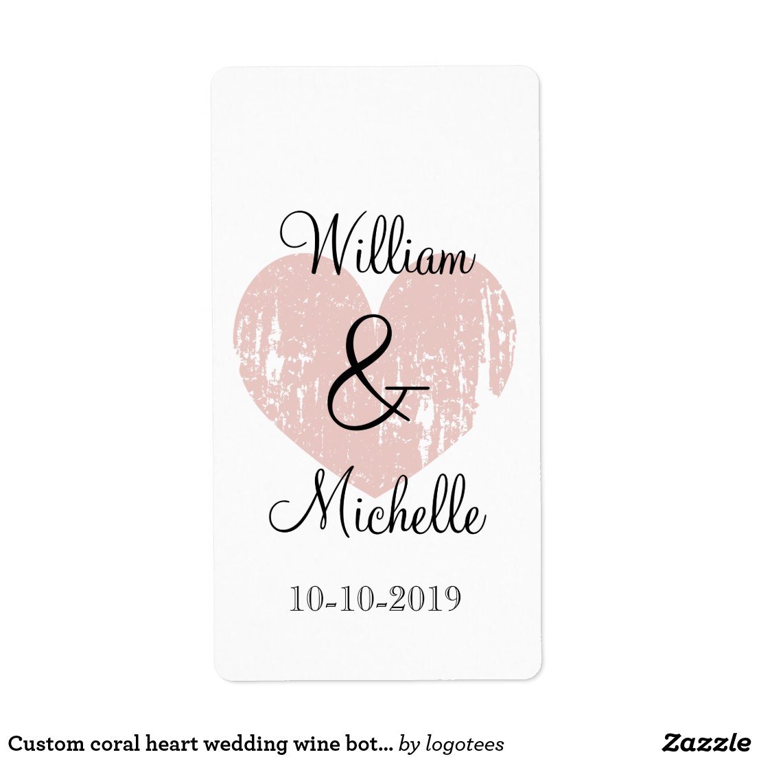 Custom coral heart wedding wine bottle labels