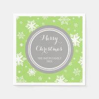 Custom Family Christmas Green Snowflakes Napkins