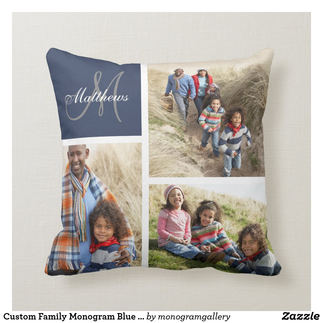Custom Family Monogram Photo Collage Pillow