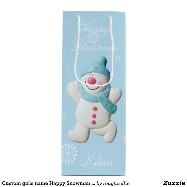 Custom girls name Happy Snowman cute christmas