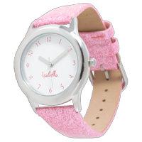 Custom Girls Name Pink Glitter Strap Kids Watch
