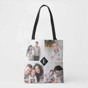 Custom Instagram Photo Collage Family Monogram Tote Bag