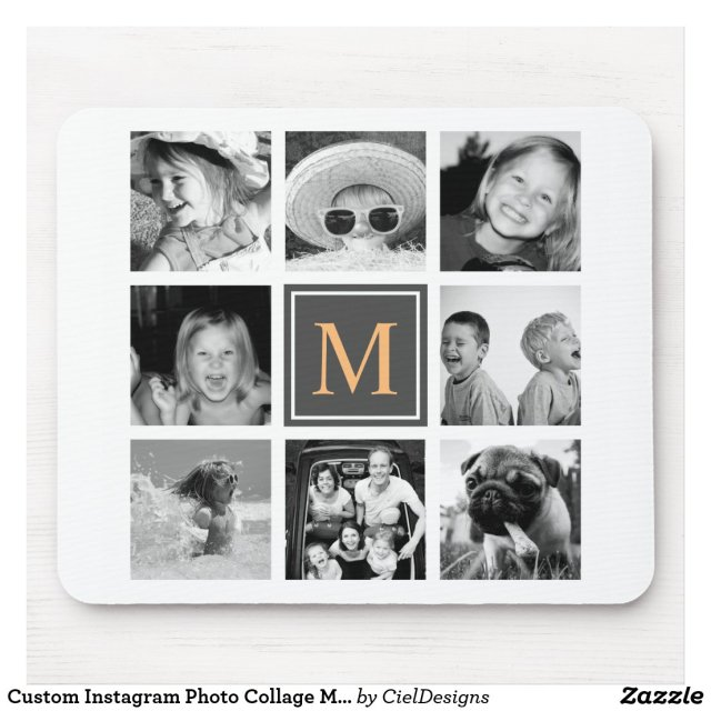 Custom Instagram Photo Collage Monogram Mouse Mat