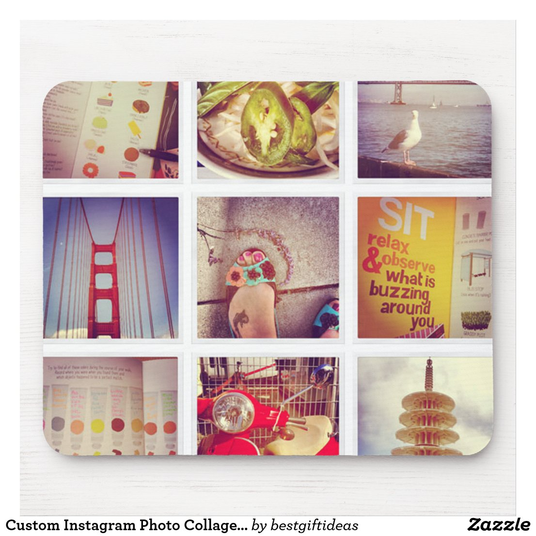 Custom Instagram Photo Collage Mousepad