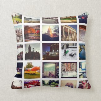 Custom Instagram Photo Collage Throw Pillow Throw Cushion