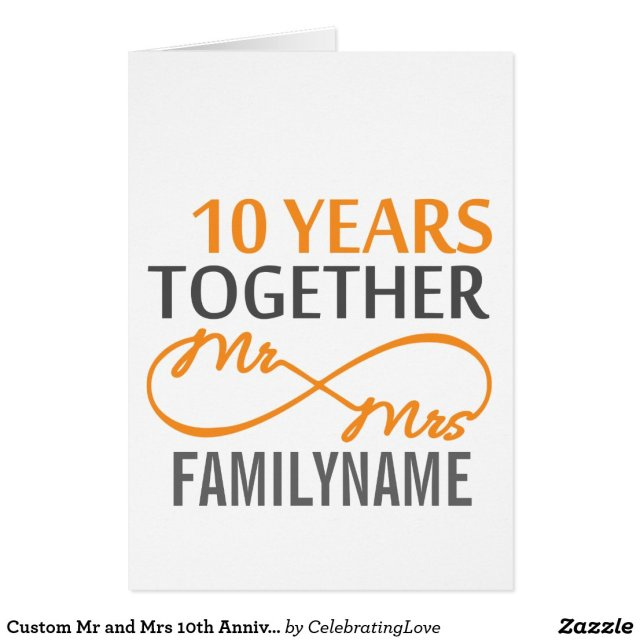 Mr and Mrs 10th Anniversary Card
