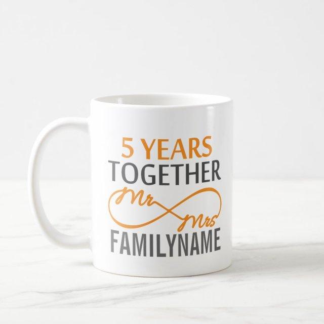 Custom Mr and Mrs 5th Anniversary Coffee Mug
