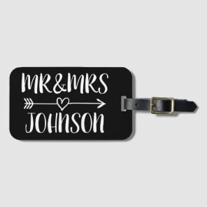 Custom Mr and Mrs travel luggage tag for newlyweds