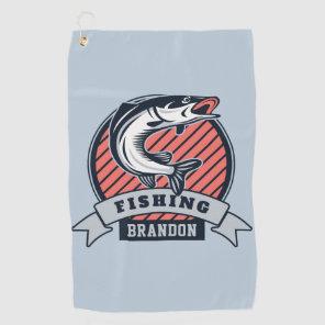 Custom name & colour Fisher golf towel