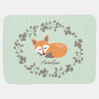 Custom Fox Baby Blanket