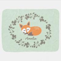 Custom Name LIttle Fox Baby Blanket
