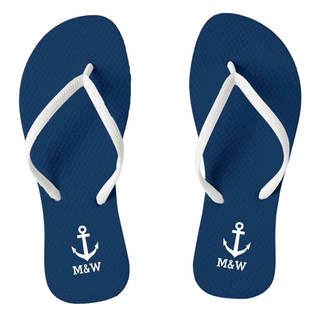 Custom nautical monogram beach wedding flip flops