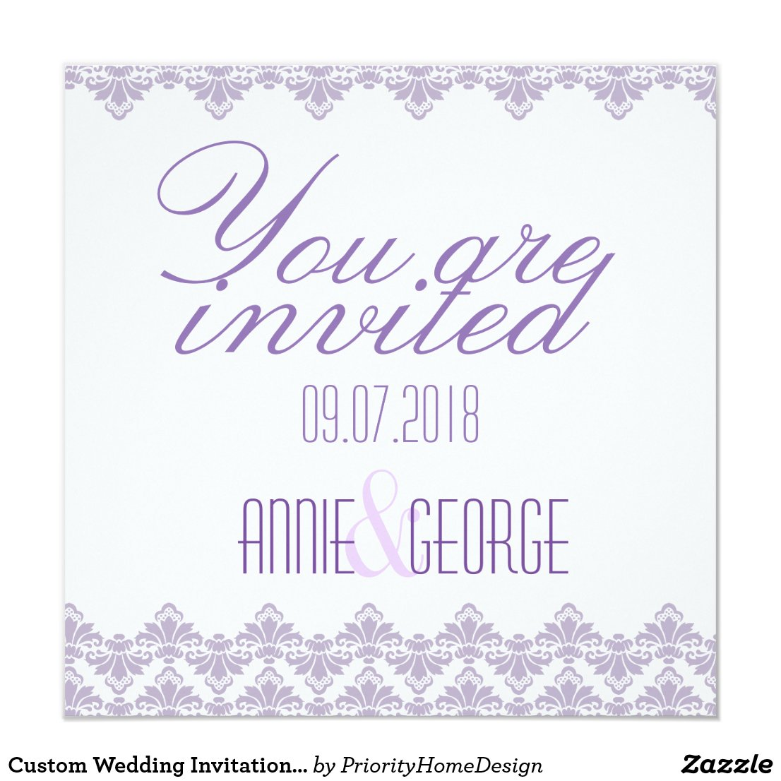 Custom Wedding Invitation Lilac Purple 2 Damask