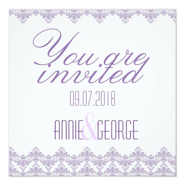 Custom Wedding Invitation Lilac Purple 2 Damask
