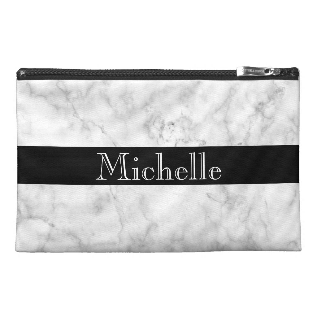 Custom White Grey and Black Marble Travel Accessory Bag