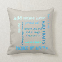 Customizable oat teal chalkboard wordcloud add tag pillow