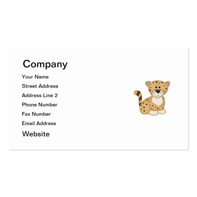 Cute Baby Leopard Business Card Template