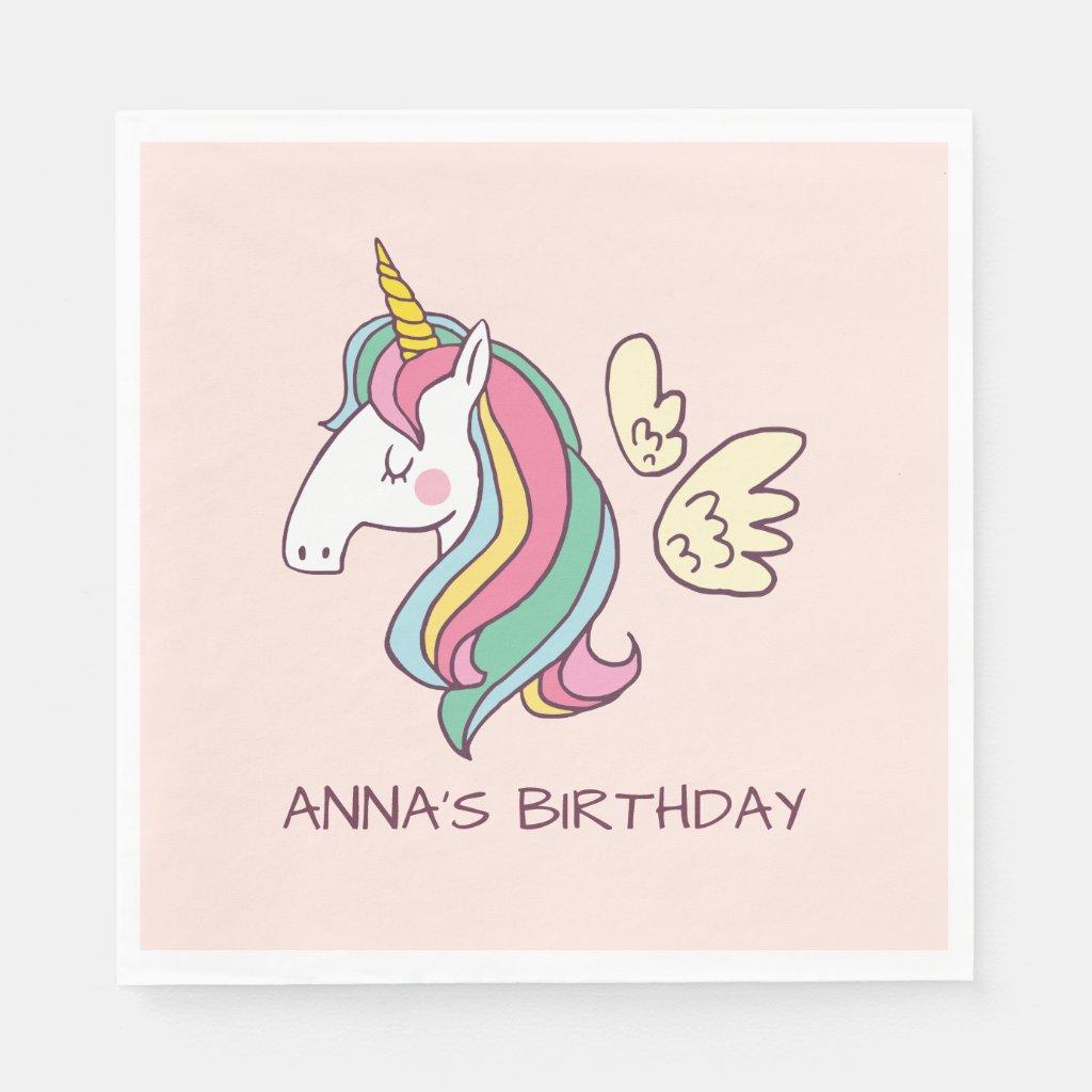Cute Birthday Doodle Flying Rainbow Unicorn Paper Napkins