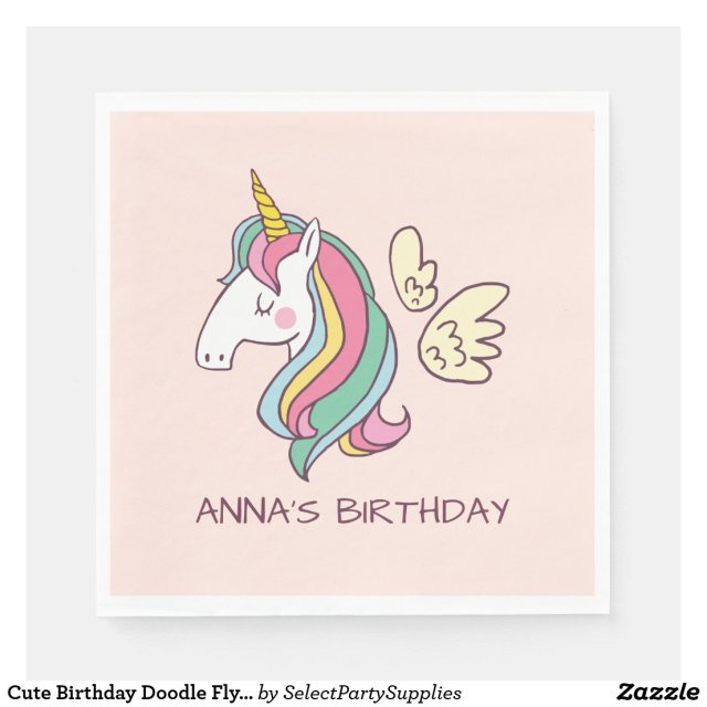 Cute Birthday Doodle Flying Rainbow Unicorn Paper Napkins