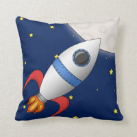 Cute Cartoon Space Rocket Ship Throw Pillow