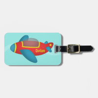 Cute Colourful Aeroplane Jet for Kids Tags For Bags