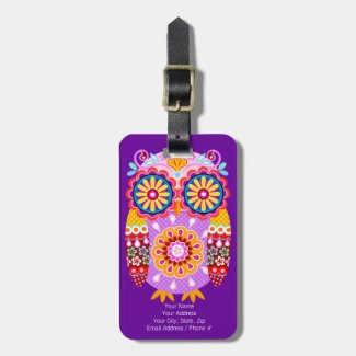Cute Colourful Owl Luggage Tag - Customise it!