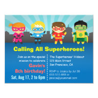 Cute Colourful Superhero Birthday Party Card