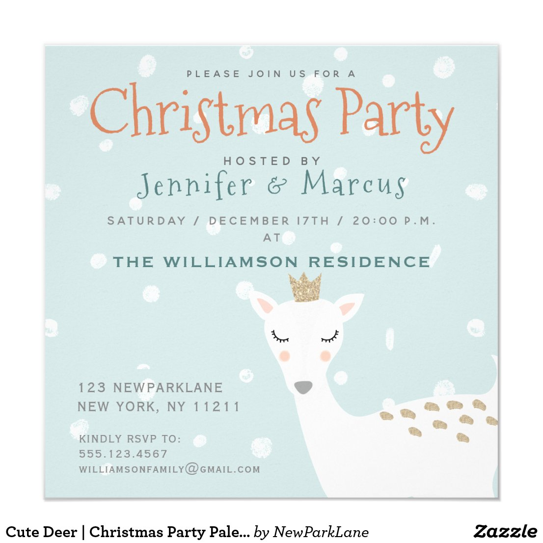 Cute Deer | Christmas Party Pale Blue Invitation