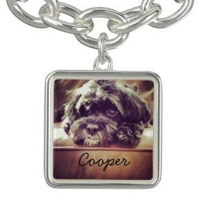 Cute Dog Custom Pet Photo Charm Bracelet