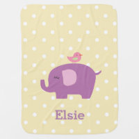 Cute Elephant Personalized Girl's Baby Blanket