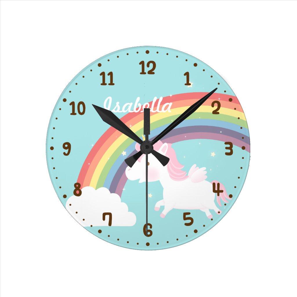 Flying Unicorn Rainbow Clock