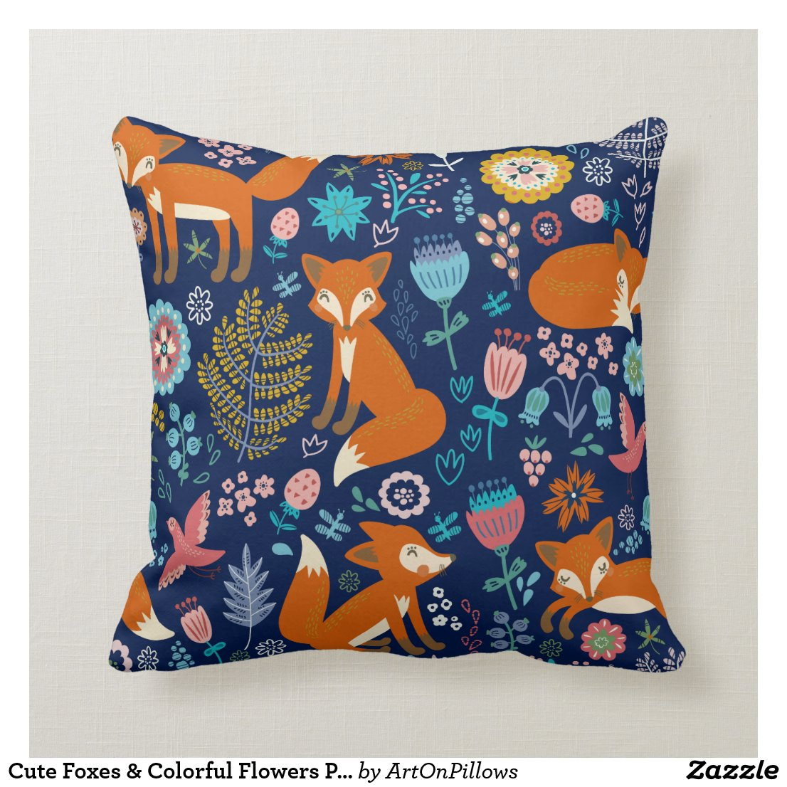 Cute Foxes & Colourful Flowers Pattern Cushion