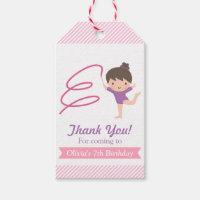 Cute Girl Gymnastics Kids Birthday Gift Tags