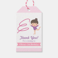 Cute Girl Gymnastics Kids Birthday Gift Tags