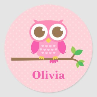 Pink Owl on Branch Sticker