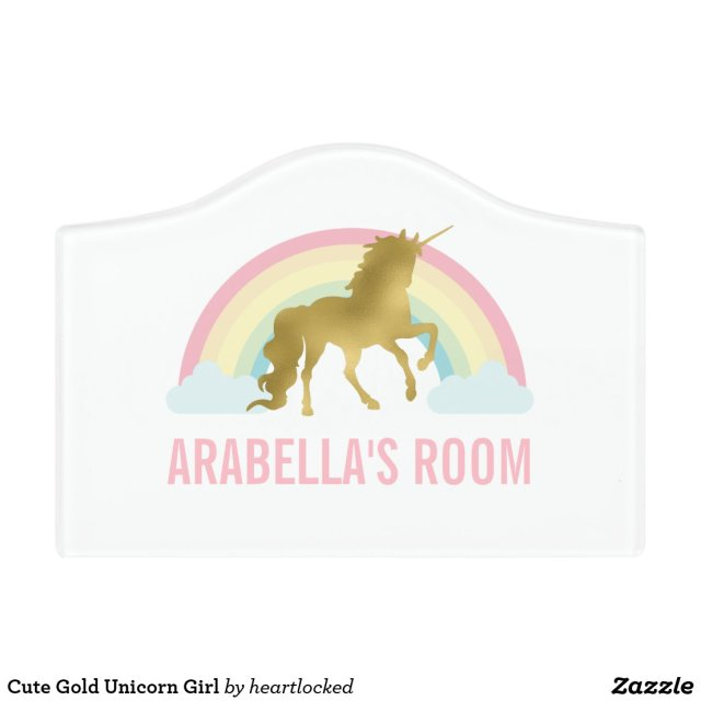 Cute Gold Unicorn Girl Door Sign