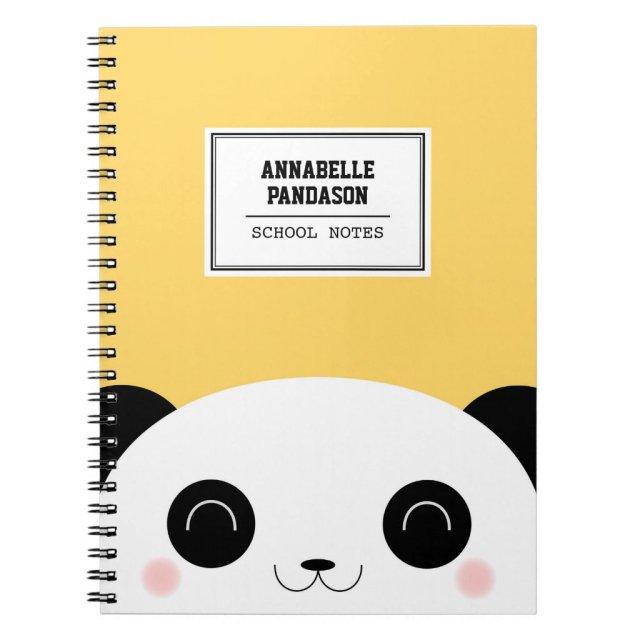 Cute Kawaii Peekaboo Panda Face Personalised Notebooks