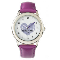 Cute Kid's watch with purple heart and girls name
