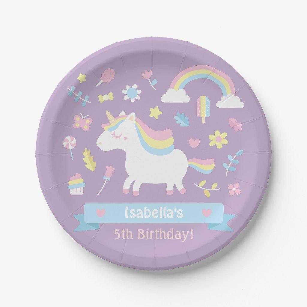 Cute Little Unicorn Girls Birthday Party Plates