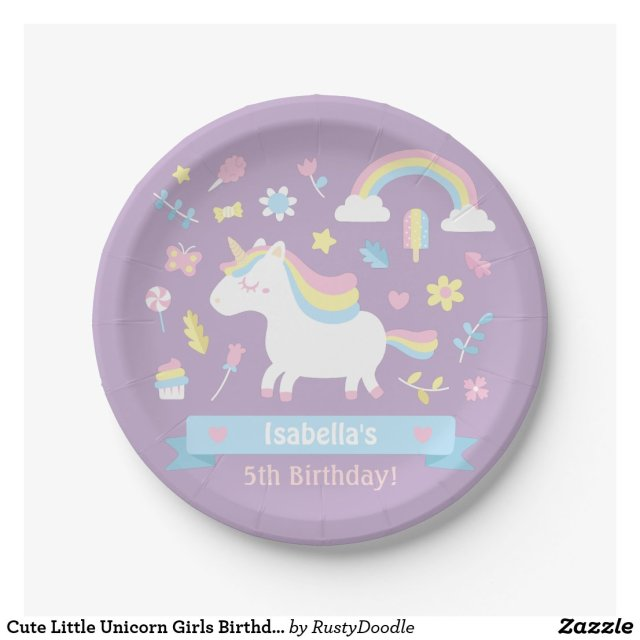 Cute Little Unicorn Girls Birthday Party Plates