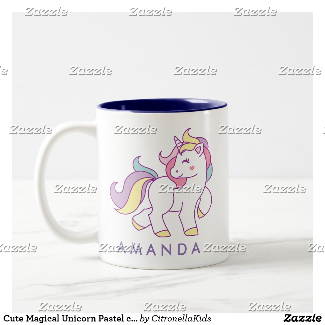 Cute Magical Unicorn Pastel colour Personalised