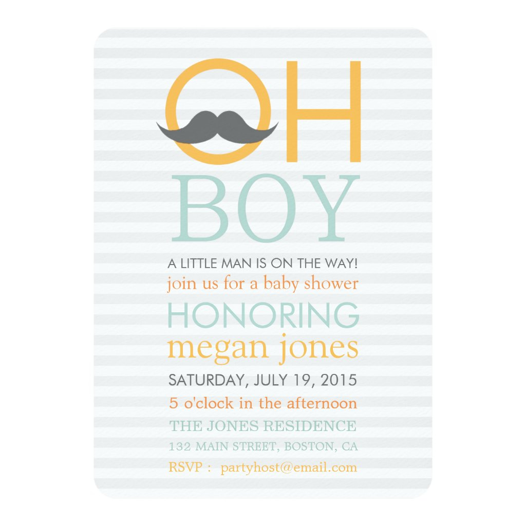 Cute Oh Boy Moustache Baby Shower Invitations