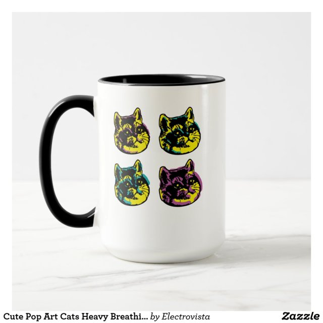Cute Pop Art Cats Heavy Breathing Intensifies Mug