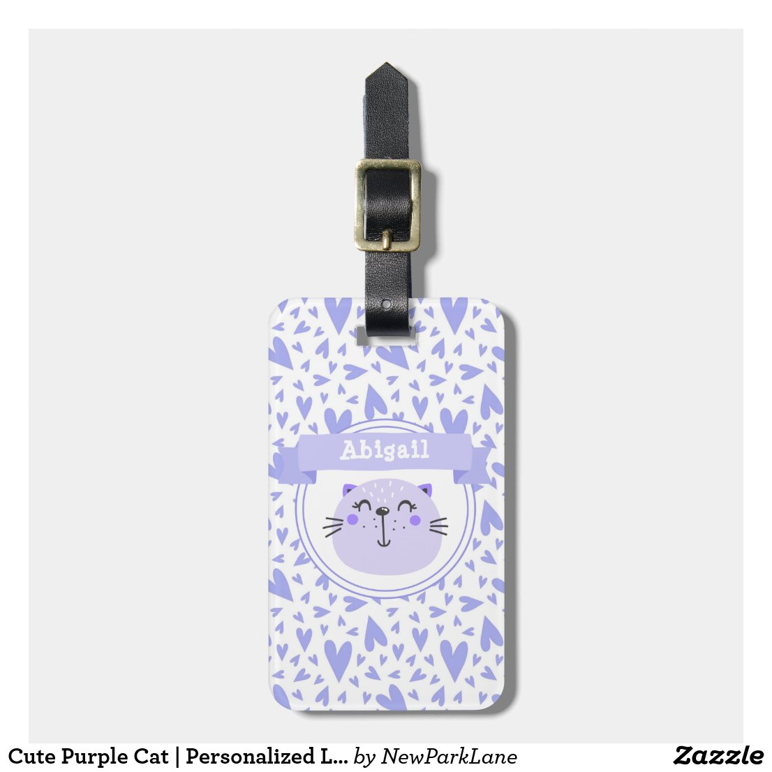 Cute Purple Cat | Personalised Lilac Striped Kids Luggage Tag