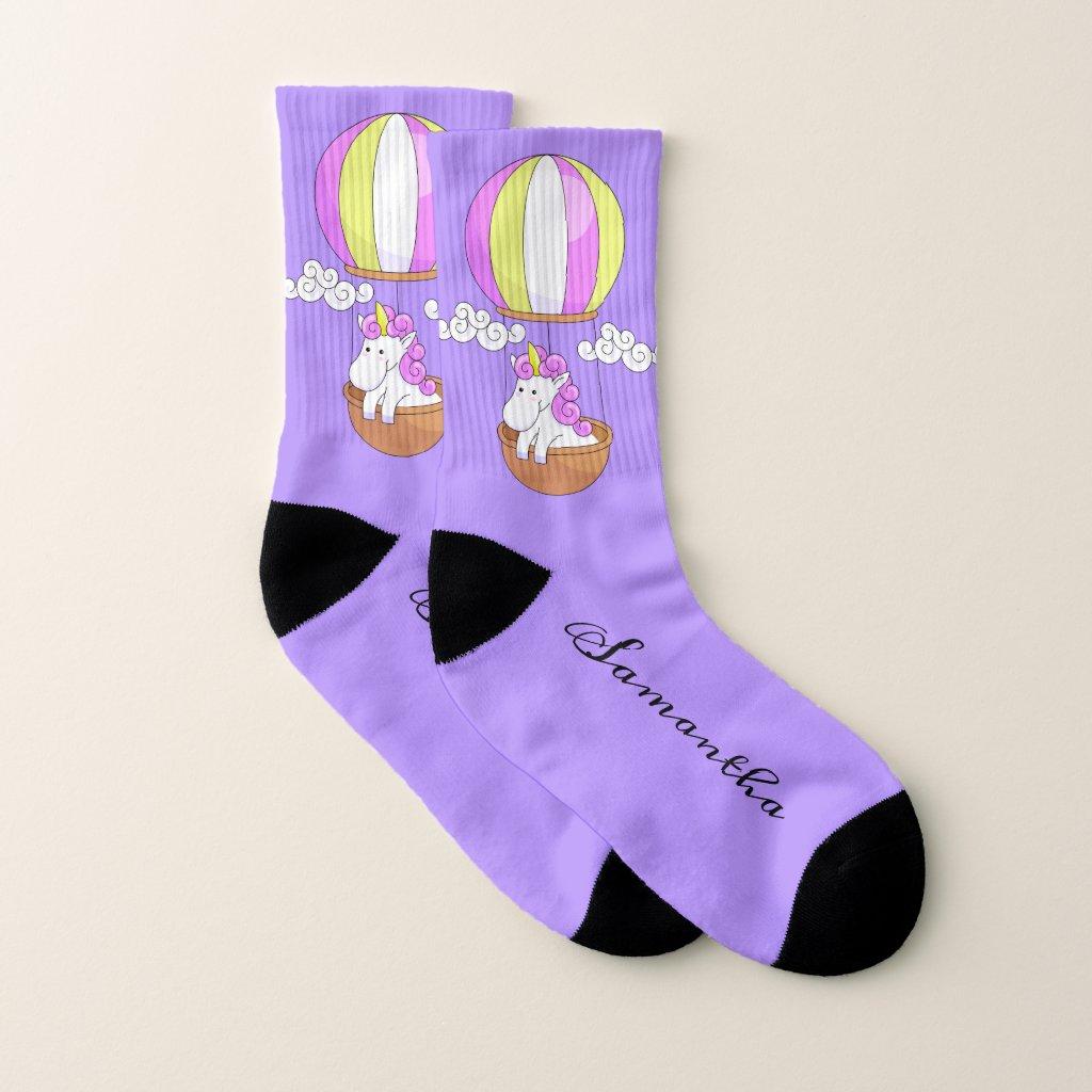 Cute Unicorn custom name socks